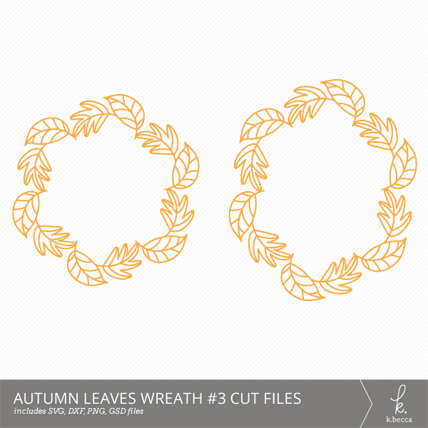 Autumn Leaves Wreath #3 Digital Cut Files from k.becca (Commercial Licensing Available)