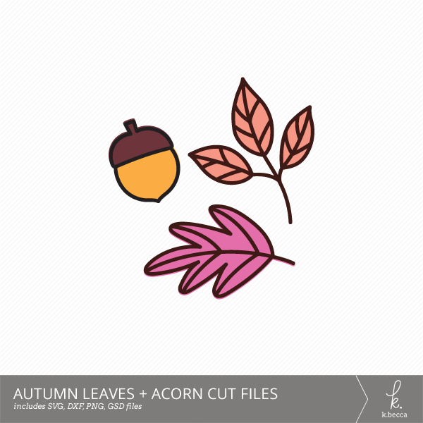 Autumn Leaves + Acorn Digital Cut Files from k.becca (Commercial Licensing Available)