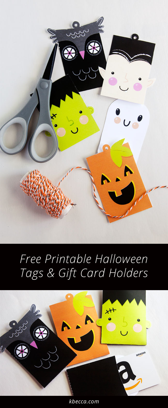 Free Printable Cute Halloween Tags for Treat Bags & Gift Card Holders from k.becca