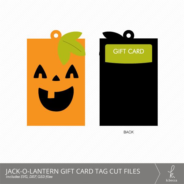 Jack-o-Lantern Gift Card Holder + Tag Digital Cut Files from k.becca