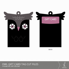 Owl Gift Card Holder + Tag Digital Cut Files from k.becca