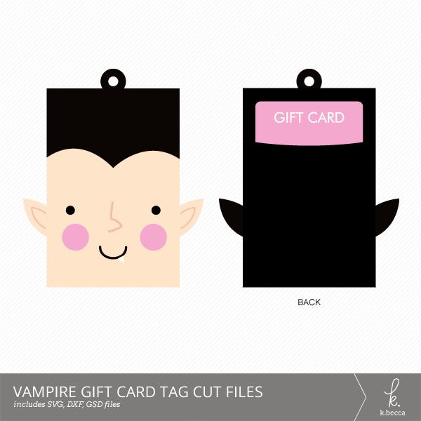 Vampire Gift Card Holder + Tag Digital Cut Files from k.becca