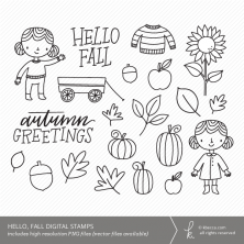 Hello, Fall Digital Stamps from k.becca (Commercial Licensing Available)