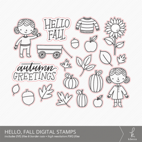 Hello, Fall SVG Digital Stamps + Border Cuts