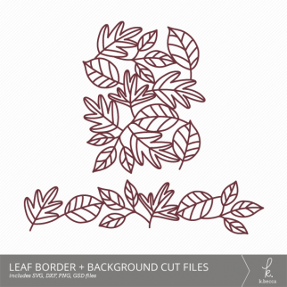 Leaf Border + Background Digital Cut Files from k.becca (Commercial Licensing Available)