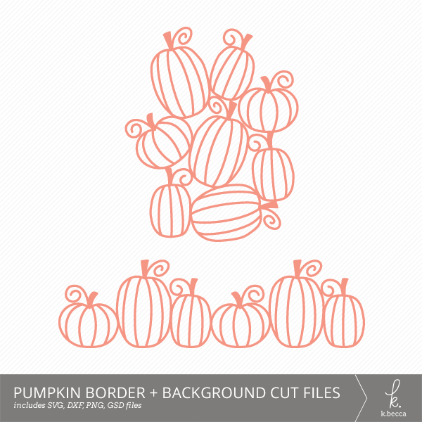 Pumpkin Border + Background Digital Cut Files from k.becca (Commercial Licensing Available)