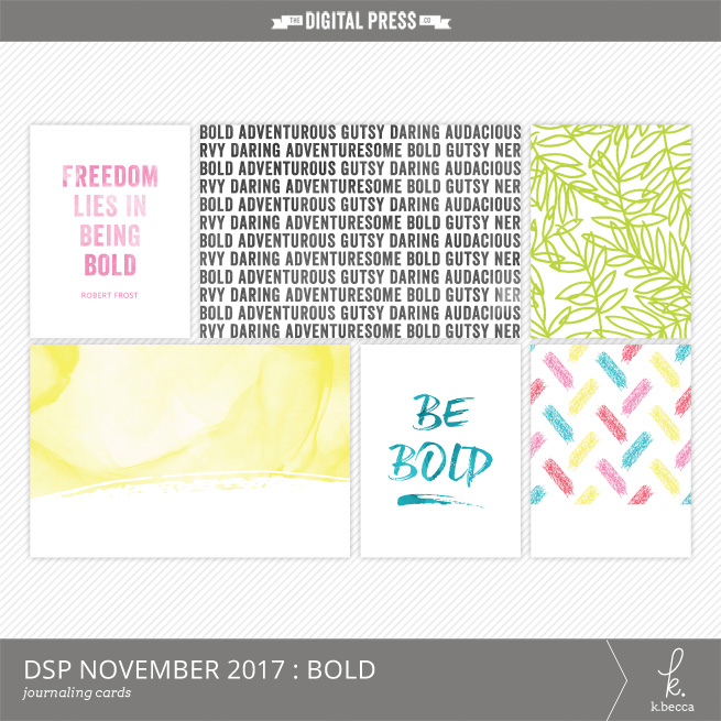 Bold Journaling Cards Freebie : DigiScrap Parade November 2017