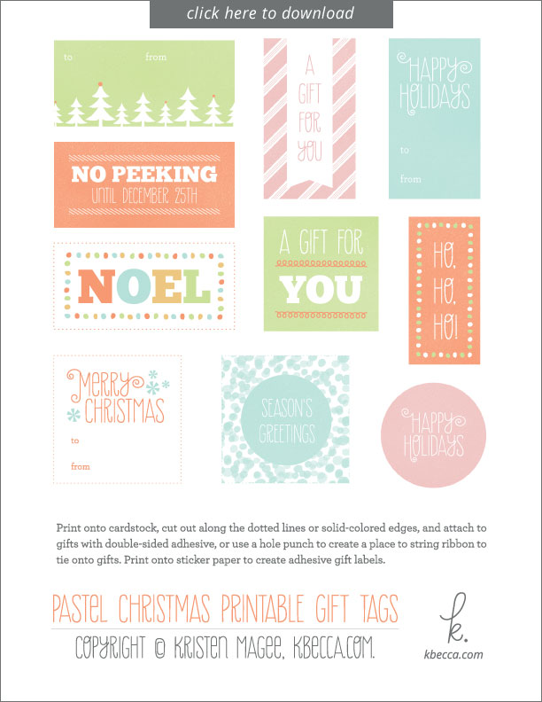 Free Printable Christmas Tags for Gifts from k.becca #holidaytags