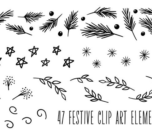 Hand Drawn Holiday Christmas Clip Art from k.becca