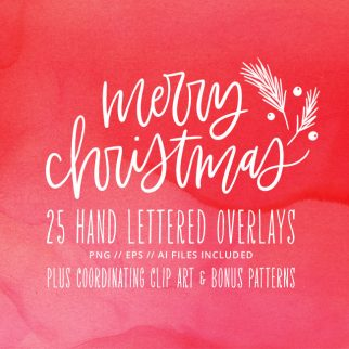 Hand Lettered Holiday Christmas Photo Overlays + Clip Art & Bonus Patterns (Commercial Available) from k.becca #clipart #lettering