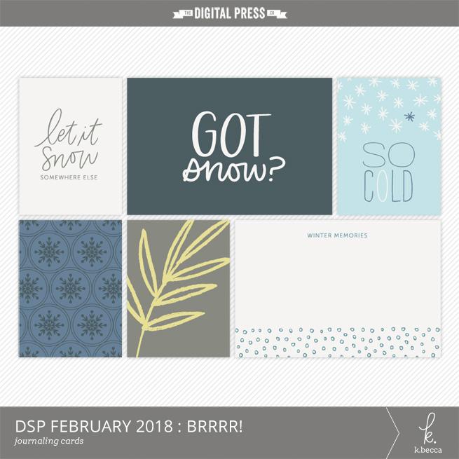 BRRRR! Journaling Cards Freebie : DigiScrap Parade February 2018