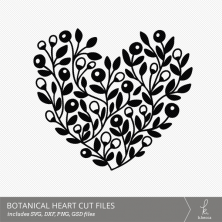 Botanical Heart Digital Cut File from k.becca (Commercial Licensing Available)