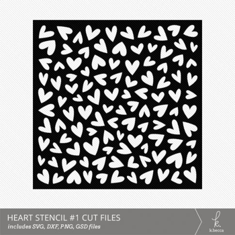 Hearts #1 Stencil Digital Cut File from k.becca (Commercial Licensing Available)