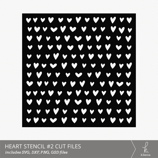 Hearts #2 Stencil Digital Cut File from k.becca (Commercial Licensing Available)