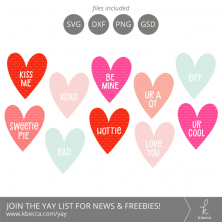 Valentine SVG Conversation Hearts Bundle from k.becca
