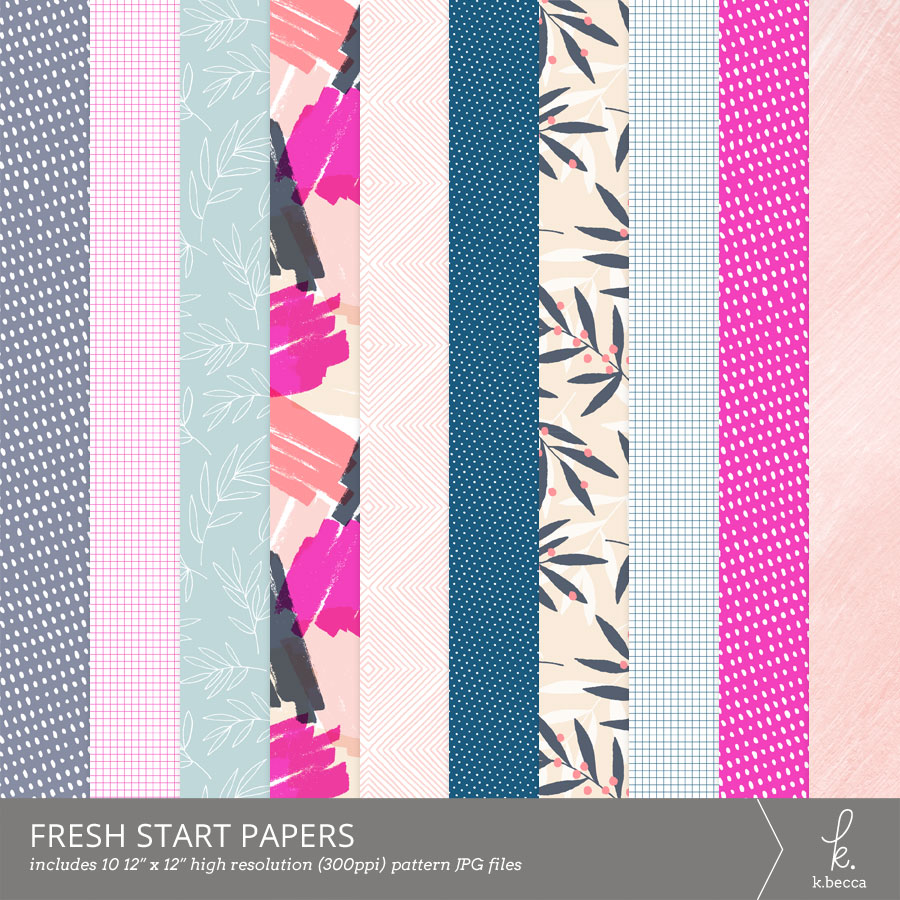 Fresh Start Digital Patterns Scrapbooking from k.becca (Commercial Licensing Available) #digitalscrapbooking #scrapbooking