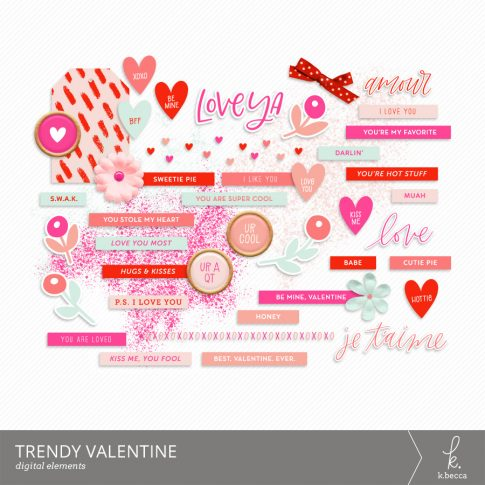 Trendy Valentine Digital Elements from k.becca