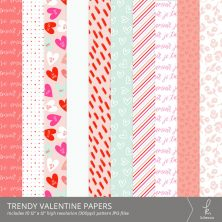 Trendy Valentine Digital Patterns from k.becca #scrapbooking #digitalscrapbooking #pattern