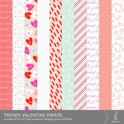 Trendy Valentine Digital Patterns from k.becca #scrapbooking #digitalscrapbooking #pattern