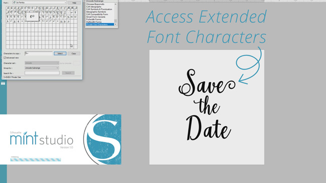 How to Access Extended Font Characters in Silhouette Mint Studio