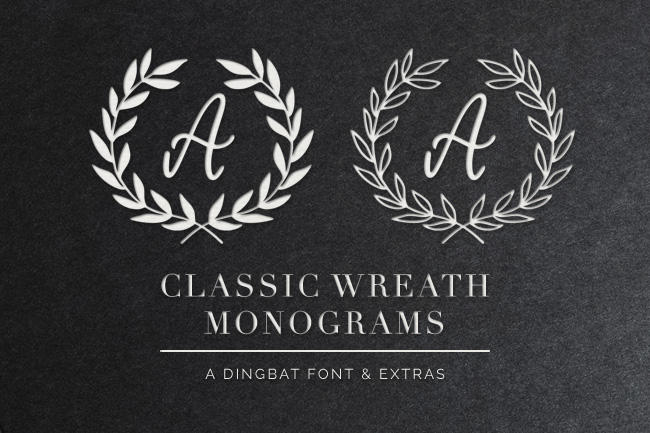 Classic Wreath Monograms Dingbat Font from k.becca #font