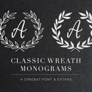 Classic Wreath Monograms Dingbat Font (SVG / Vector / PNG files included) #font #monogram