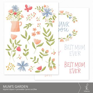Mum's Garden Clip Art (Print + Cut Files included) from k.becca #svgfiles #cutfiles #printandcut #silhouettecameo #cricut