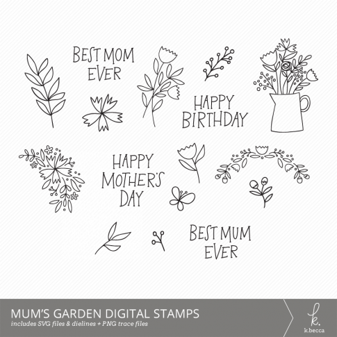 Mum's Garden Digital Stamps SVG Print & Cut Printable #svgfiles #cutfiles #silhouettecameo #cricut