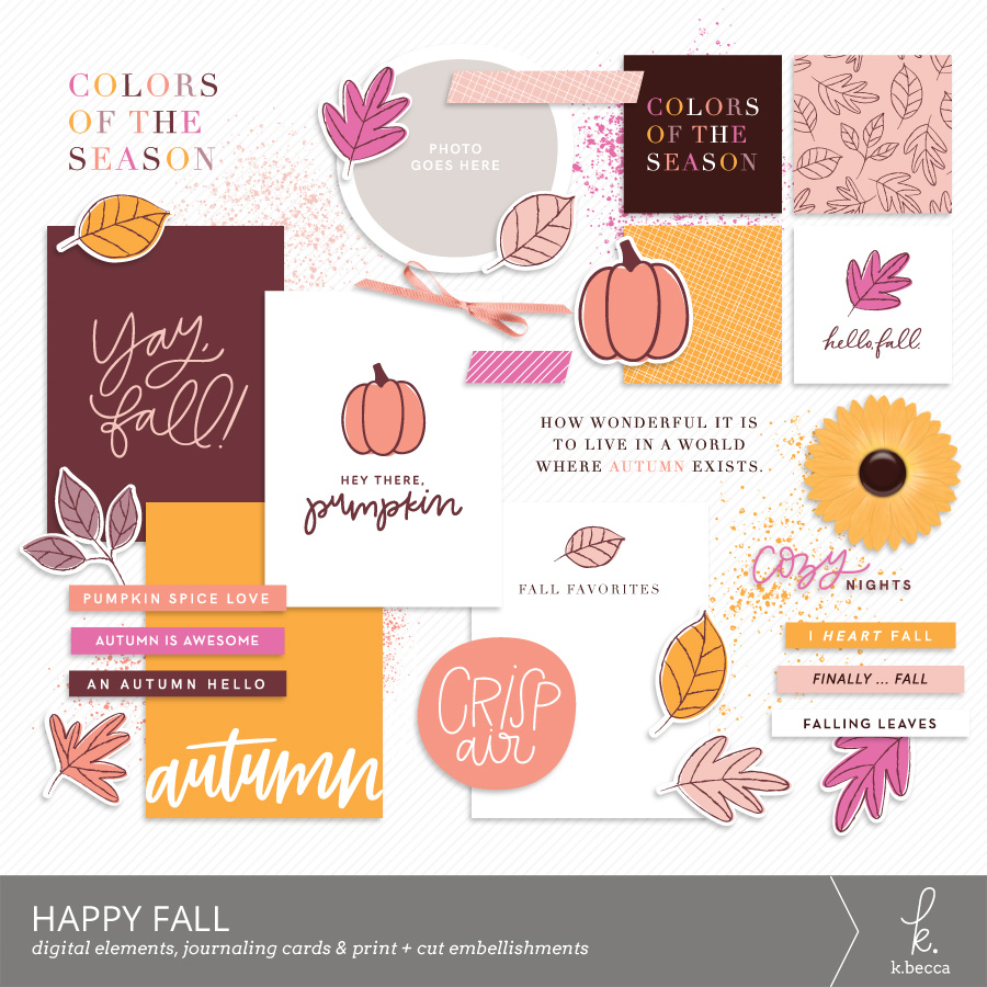 Happy Fall Digital Journaling Cards + Elements by k.becca