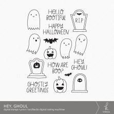 Hey, Ghoul Digital Stamps + Dielines by k.becca #digitalstamps #cardmaking #svgfiles