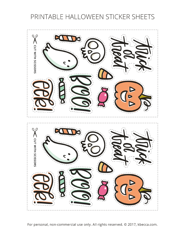 picture relating to Halloween Stickers Printable named Absolutely free Printable Halloween Stickers