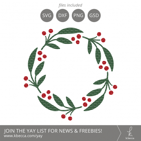Berry Wreath SVG Cut Files #svgfiles #cutfiles #christmas #silhouettecameo #cricut