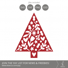 Folk Art Christmas Tree 1 SVG Cut Files #svgfiles #cutfiles #christmas #silhouettecameo #cricut