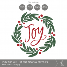 Joy Wreath SVG Cut Files #svgfiles #cutfiles #christmas #silhouettecameo #cricut