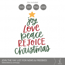 Joy Love Peace Rejoice Christmas Tree SVG Cut Files #svgfiles #cutfiles #christmas #silhouettecameo #cricut