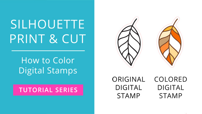 Silhouette Print & Cut Tutorial - How to Color Digital Stamps in Silhouette Studio (Video) #printandcut #silhouettestudio #silhouettecameo #svgfiles