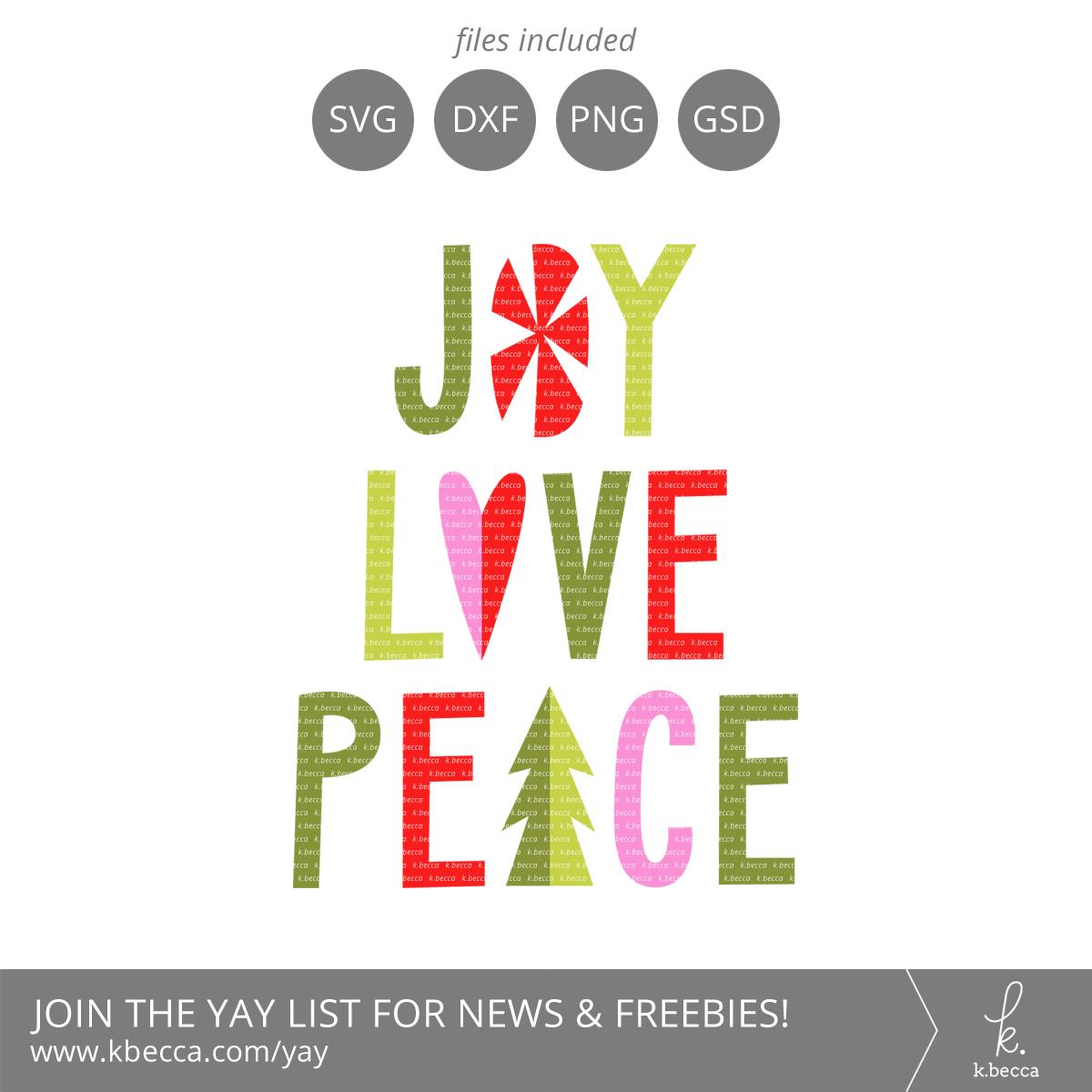 Joy Love Peace Words SVG Cut Files #svgfiles #cutfiles #silhouettecameo #cricut