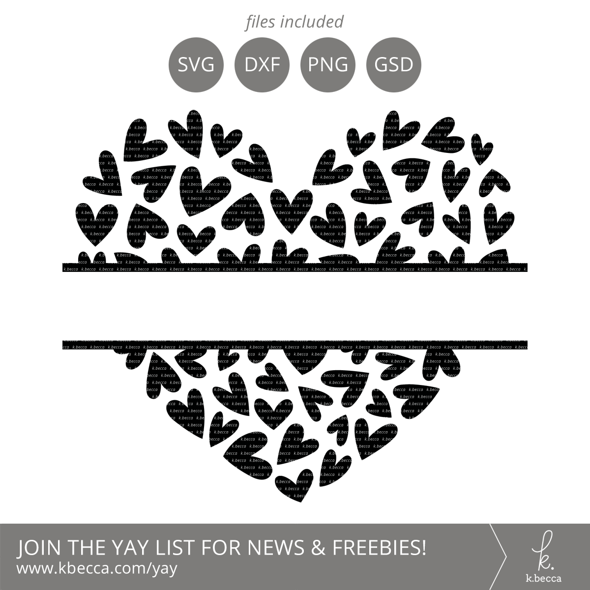 Hearts Split Monogram Frame SVG Cut Files - Commercial ...