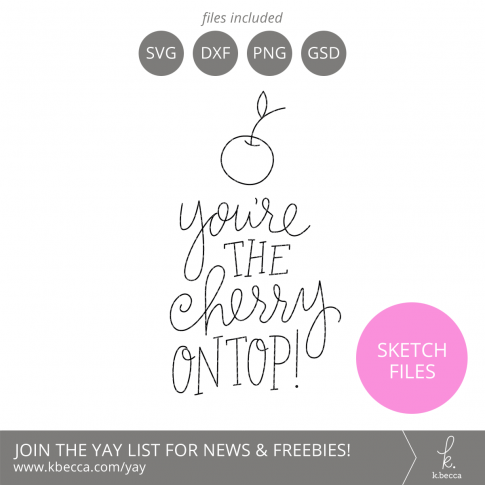 You're the Cherry on Top Phrase Sketch Files #silhouettecameo #cricut #foilquill