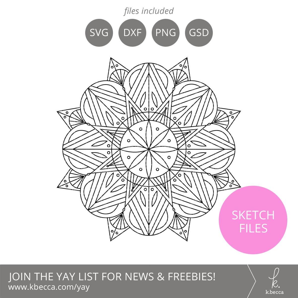 Deco Mandala Sketch Files #silhouettecameo #cricut #foilquill