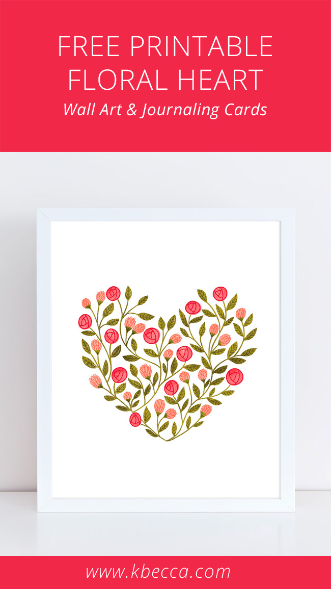 Free Printable Floral Heart Wall Art / Journaling Cards / Print & Cut Files