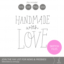 Handmade with Love Phrase Sketch Files #silhouettecameo #cricut #foilquill