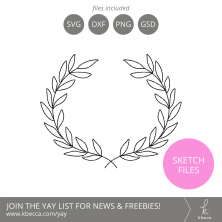 Laurel Wreath Sketch Files #silhouettecameo #cricut #foilquill