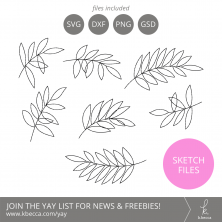 Laurel Leaves Sketch Files #silhouettecameo #cricut #foilquill