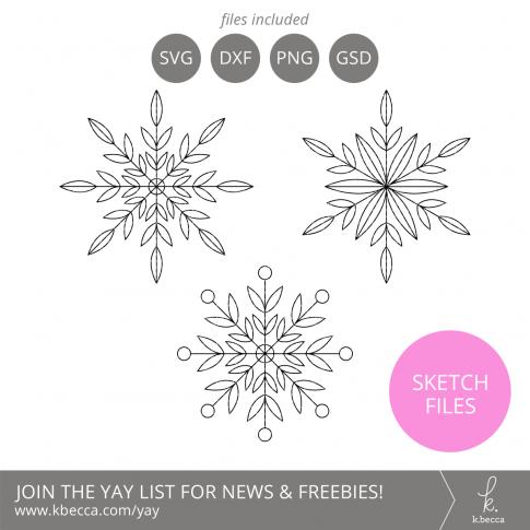 Snowflakes Sketch Files #silhouettecameo #cricut #foilquill