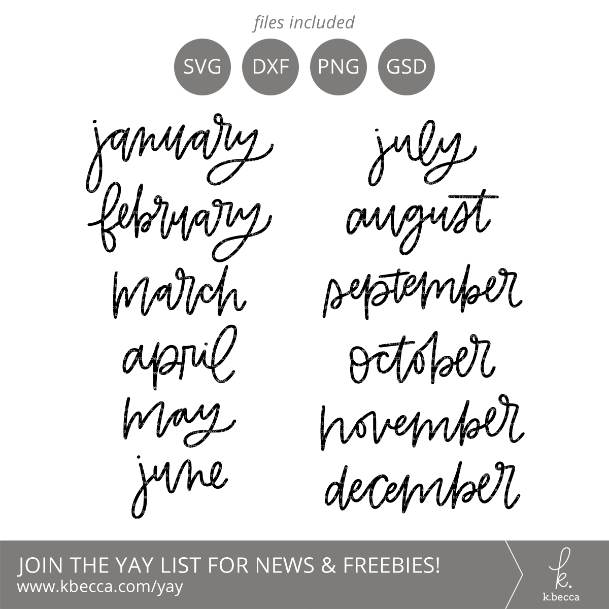 Handwritten Month Names SVG Cut Files #svgfiles #cutfiles #silhouettecameo #cricut