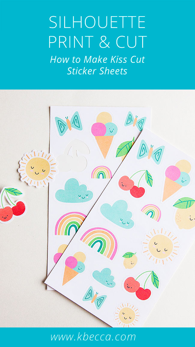How to Make Kiss Cut Sticker Sheets with Silhouette Cameo (Video) #printandcut #silhouettecameo