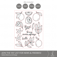 Lovely Lemons Digital Stamps + Dielines #digistamps #digitalstamps #clipart #silhouettecameo #cricut